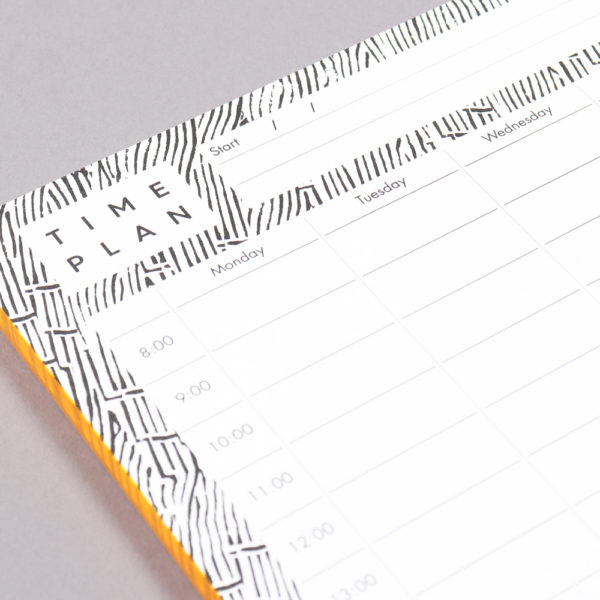 52 page time planner shown - here showing the fine monochrome design by Wald in detail. 21 x 29.7cm (A4)