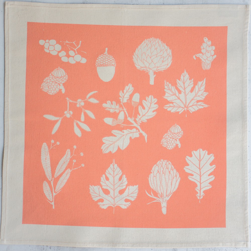 Cotton napkins screen printed in a winter leaf print - 4 colours available, seen here in Peach. Softer + Wild on Chalk & Moss (chalkandmoss.com).