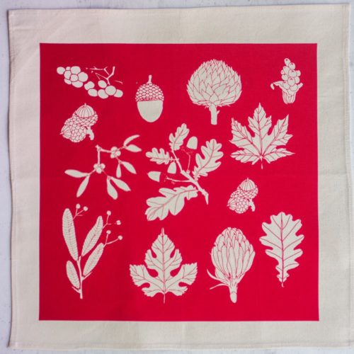 Cotton napkins in winter leaf print, shown in poppy red (other colours available). Find them on Chalk & Moss (chalkandmoss.com).