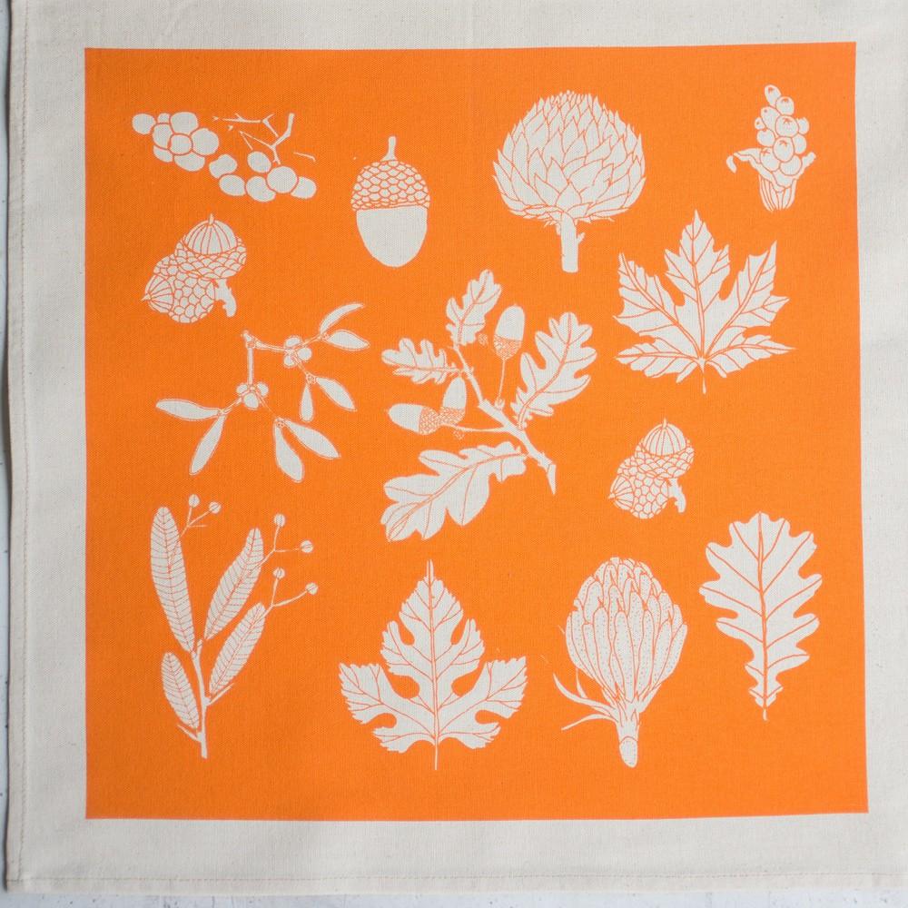 Tangerine napkins, part of the winter botanical range by Softer + Wild on Chalk & Moss (chalkandmoss.com).