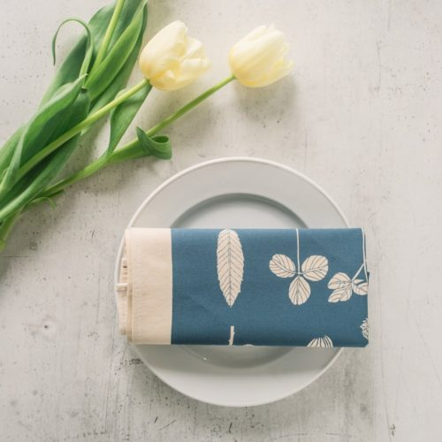 botanical cotton napkins (set of 4). These nature print napkins by Softer + Wild are screen printed and available in several vibrant colours on Chalk & Moss (chalkandmoss.com) Seen here in kingfisher blue.
