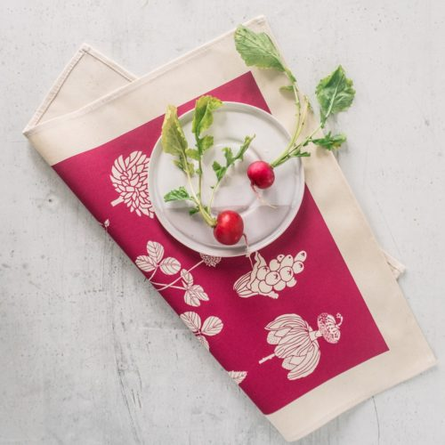 botanical cotton napkins (set of 4). These nature print napkins by Softer + Wild are screen printed and available in several vibrant colours on Chalk & Moss (chalkandmoss.com) Seen here in raspberry red.