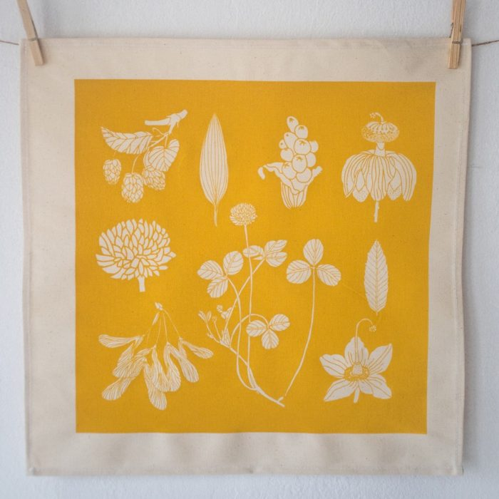 botanical cotton napkins (set of 4). These nature print napkins by Softer + Wild are screen printed and available in several vibrant colours on Chalk & Moss (chalkandmoss.com) Seen here in sunflower yellow.