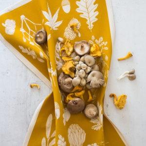 Winter tea towel, mustard coloured, by Softer + Wild, sold on chalkandmoss.com.