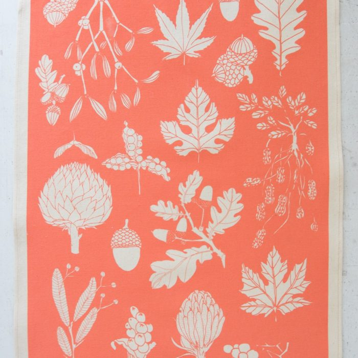 Winter botanical tea towel on chalkandmoss.com - nature connected homewares.