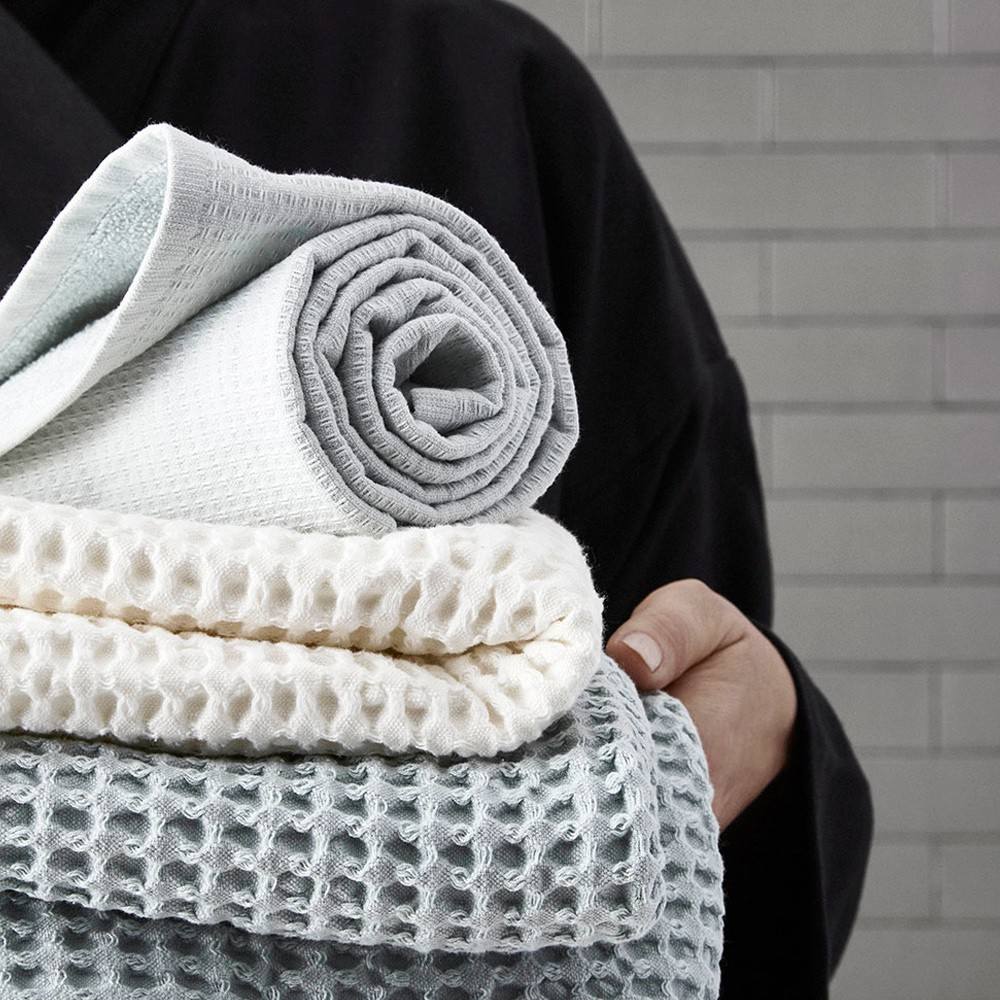 Waffle towel designed by The Organic Company. This soft and absorbent medium sized towel is available in a range of soft colours with a Scandinavian feel.