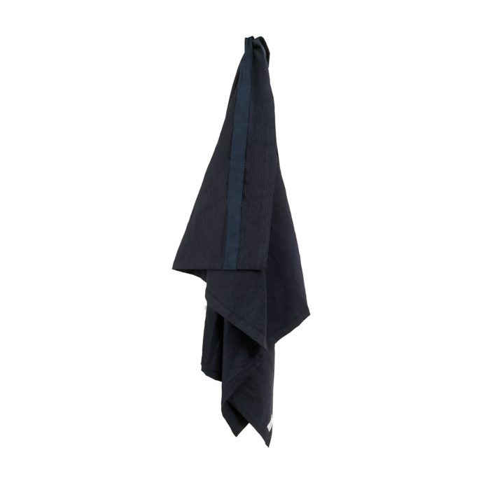 Wellness towel / extra large bath sheet in organic dark blue cotton.