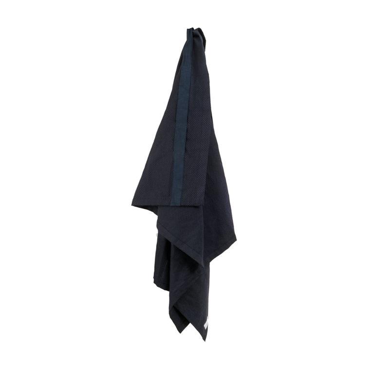 Wellness towel / extra large bath sheet in organic dark blue cotton.