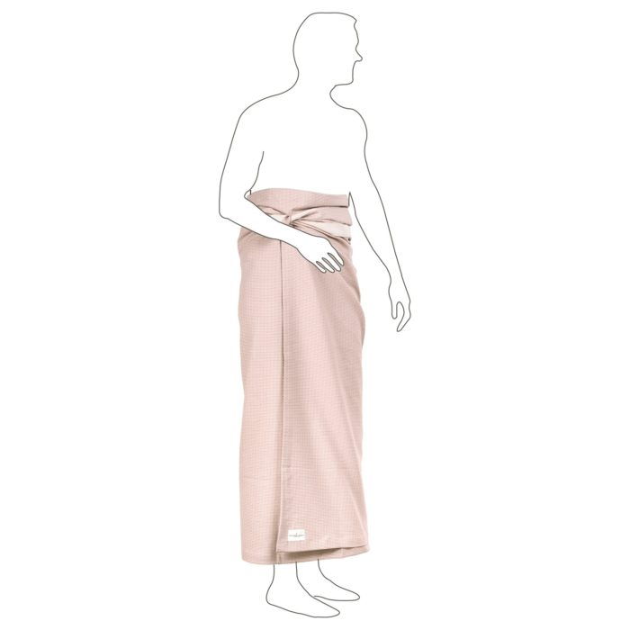 The strap on the side of this bath sheet help keep it in place. Organic cotton bath sheet