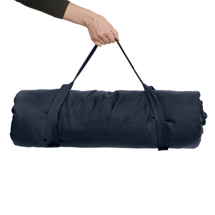 A meditation mat or padded yoga mat with carry handle. GOTS certified organic cotton inner and cover. This is the blue version.