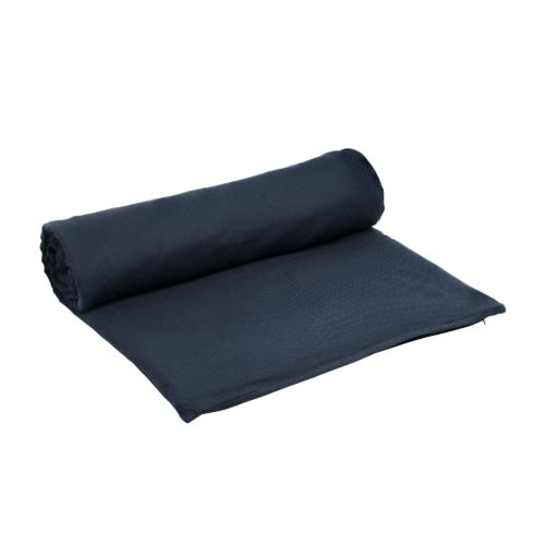 A meditation mat or padded yoga mat that eases you into meditation, relaxation and yoga, with a handle. Designed in Denmark. Organic cotton, made ethically in India. Shown here in blue.