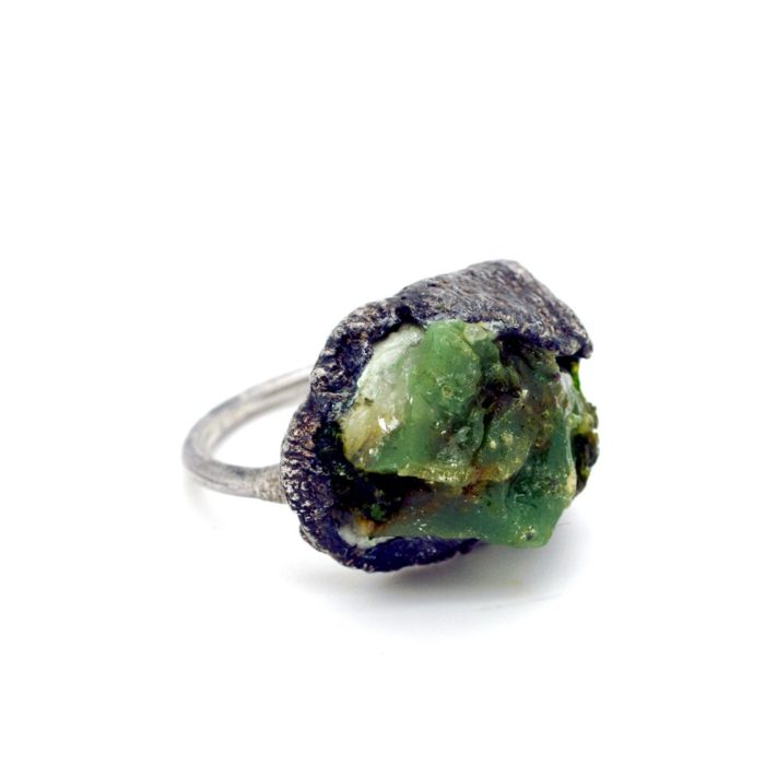 Green stone ring set in 925 silver. An organically shaped blend of stone, moss and resin. 23 mm x 20mm x 10mm.