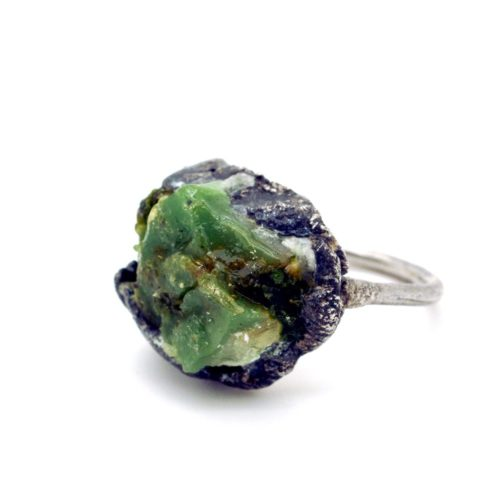 Green stone ring in chunky silver. A biologically formed blend of stone, moss and resin. 925 silver. 23 mm x 20mm x 10mm.