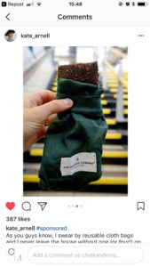 Blogger/YouTuber Kate Arnell with her new food bags for Plastic Free July. Designed in Denmark by The Organic Company. Chalk & Moss is one of the UK's only stockists, so get in there quick!