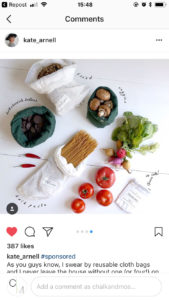 Blogger/YouTuber Kate Arnell with her new food bags for Plastic Free July. By The Organic Company in Denmark. Chalk & Moss is one of the UK's only stockists, as they are brand new.