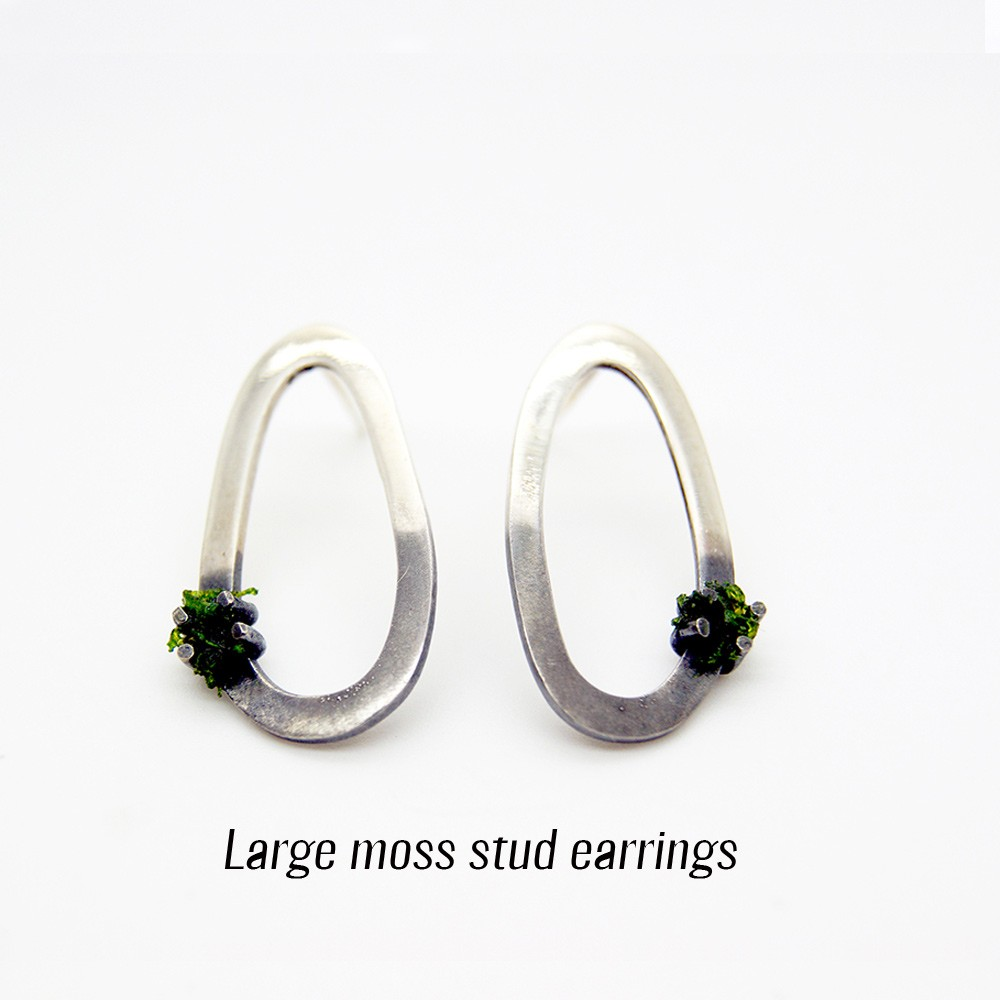 Unusual silver earrings with moss. Made from 925 silver, with a gradient (half) oxidised finish. See full description for sizes on Chalk & Moss (chalkandmoss.com). This is size large. A perfect gift for your green fingered friend!
