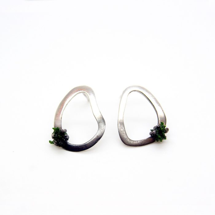 Unusual silver silver earrings with preserved moss. Made from 925 silver, with a half oxidised surface finish. Seen here in medium size (also available in small and large) - 15-28mm long. Gift for the outdoor adventurer! Also available in stud style, both on chalkandmoss.com.
