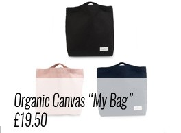 """Use """"My Organic Bag"""" by The Organic Company as a sturdy cotton canvas day bag or shopping bag. Available on Chalk & Moss (chalkandmoss.com) as part of plastic free living."""