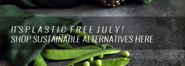 Homeware products for Plastic Free July, with great alternatives to plastic bags, packaging and household cloths.