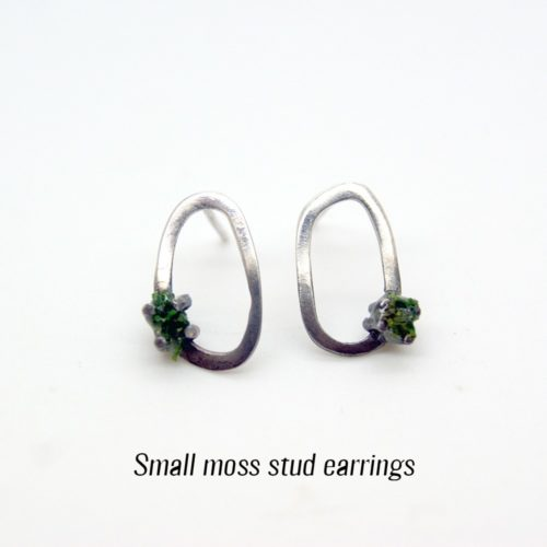 Unusual silver earrings with preserved moss. Made from 925 silver, with a half oxidised surface finish. See full description for sizes (this is small). A perfect gift for the outdoor lover! 3 sizes available (15-28mm long). Also available in stud style, both on chalkandmoss.com.