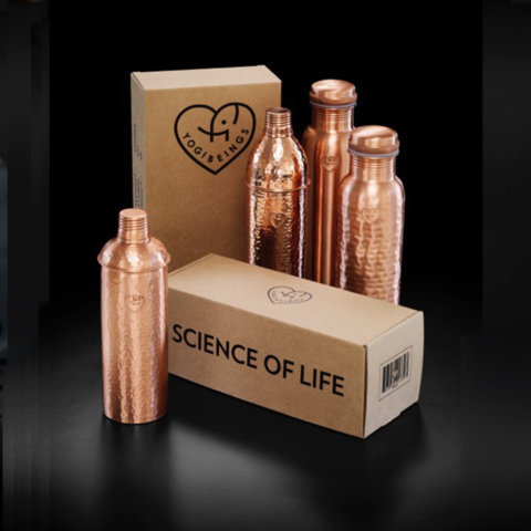 Copper water bottles by Yogibeings, available on chalkandmoss.com. The water becomes icon charged, giving you antioxidant, anti-inflammatory and anti-microbial benefits. Find your preferred style on Chalk & Moss!