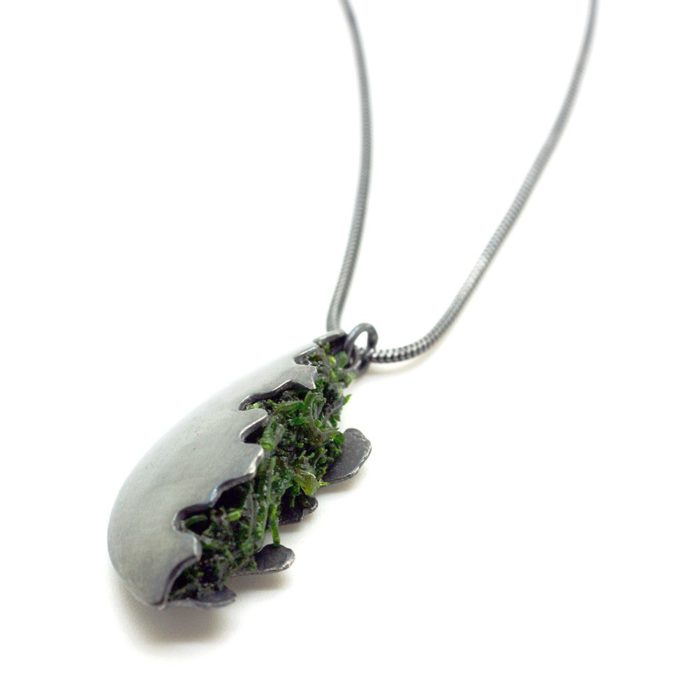 Silver pendant necklace with ever lasting moss. 45cm chain (18 inch), 1.2mm snake chain. The 925 silver has been fully oxidised (black). Get in touch to order in other finishes (half oxidised or fully polished - shop@chalkandmoss.com). Other chains can also be ordered by getting in touch.