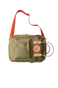 The original Fjallraven Kanken (Fjällräven Kånken) backpack from 1978 now sees 3 new editions in the Acne x Fjällräven collaboration. This is the new messenger bag. Also available is the mini Kånken clutch.