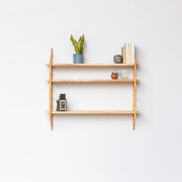 MIMA shelving set with three shelves. Also available as individual components, in 2 depths and 4 wood types. Handmade by John Eadon in the UK, upon order. The style has a Scandinavian furniture design essence.