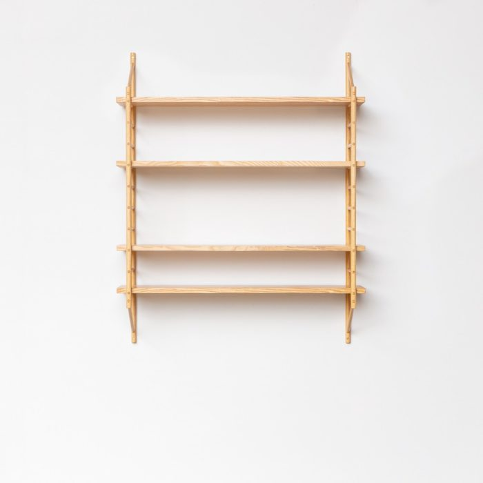 Modular shelving set, which can be bought as components or as a set (large or small). Handmade in the UK by John Eadon.