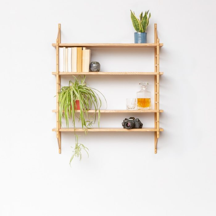 4 shelf set in the MIMA modular component shelving by John Eadon. You can choose how many shelves you would like in your configuration, and choose from four wood types.