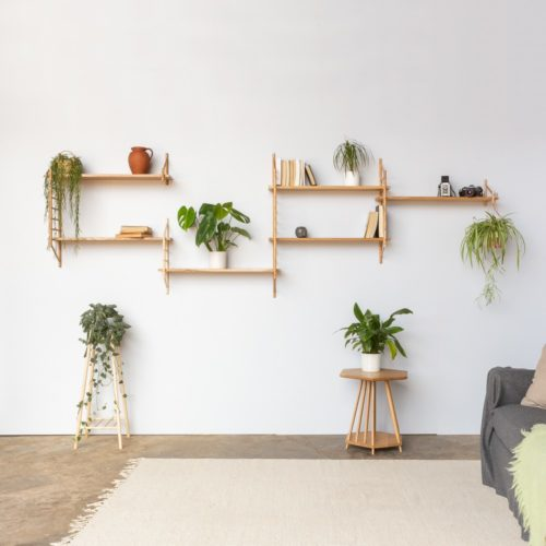 Modular shelving unit, available as components or sets (large or small). On the right is the magazine rack table and, on the left, the tall plant stand. Hand crafted by John Eadon on the UK family farm.