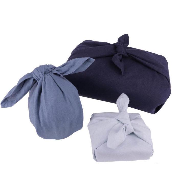 This set of 3 fabric gift wraps, or furoshiki wrap, is Scandinavia's take on the wonderful Japanese furoshiki wrap for plastic free gift wrapping. This is the Ocean colour set.