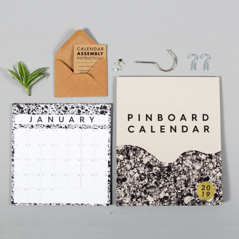 Year calendar 2019 with pinboard - month to view Pinboard year calendar in a modern monochrome design, with a Scandinavian style. A simple and refreshing take on the wall calendar to help you plan your year. The cork topper is perfect to pin reminders, business cards and more. With a month to view, this wall calendar is a great size for singles and couples. W23cm x H37cm x D2cm Made from 280gsm FSC certified paper and with refills available to reduce waste. The design uses scanned magnified materials of cork, sponge and marble. Made from 280gsm FSC certified paper. Also available in XL size.