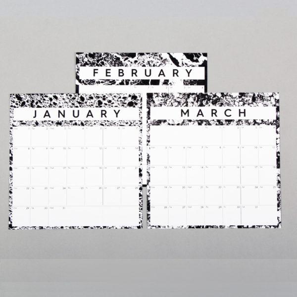 Month to view year calendar in monochrome design. W23cm x H37cm x D2cm