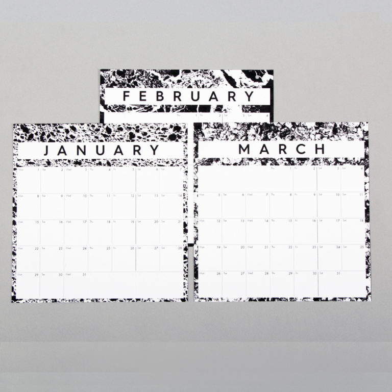 Month to view year calendar in monochrome design. W23cm x H37cm x D2cm
