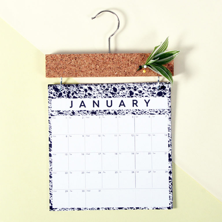 Year calendar 2019 with pinboard for cards, reminders and notes. Monochrome month to view design, to help you stay organised this year. With a month to view, this wall calendar is the perfect size for singles and couples: W23cm x H37cm x D2cm. Responsibly made from 280gsm FSC certified paper and refill pages are available year on year. The design uses scanned magnified materials of cork, sponge and marble. Made from 280gsm FSC certified paper. Also available in XL format for families.