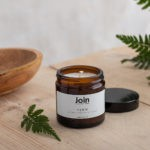 This Fern soy wax candle blend oozes fresh, zingy top notes of citrus fused with a elegant rose mid note and woody, herbaceous pine and rosemary undertones. A complex, refreshing fragrance that treats the senses. Choose three sizes. Seen here is the smallest, 60ml size, with a burn time of 10-15 hours. Join's luxury aromatherapy candles are cruelty free, vegan and handmade in small batches in London with high quality essential oils and soy wax. You can see Join's full collection of soy wax candles, room diffusers, room mists at chalkandmoss.com.