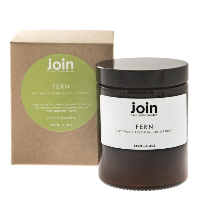 The delightful Fern aromatherapy candle combines fresh, zingy top notes of citrus with a elegant rose mid note and woody, herbaceous pine and rosemary undertones. A deep, refreshing fragrance that eases the mind. A perfect present for friends and family. These essential candles come in three sizes. This is the largest with 180ml size, with a burn time of 45-50 hours. The smallest is 60ml (10-15 hours). Join's luxury aromatherapy candles are cruelty free, vegan and handmade in small batches in London with high quality essential oils and soy wax. They are presented in a lovely recycled gift box. You can find Join's full collection of soy wax candles, room diffusers, room mists at chalkandmoss.com.