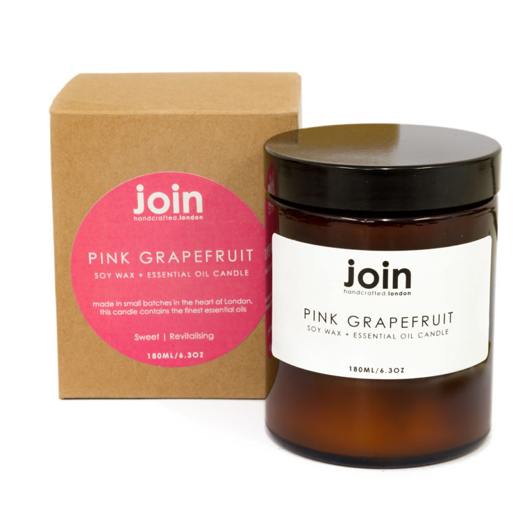 Pink grapefruit luxury candles, hand crafted in London using 100% vegan soy wax and natural essential oil. The pink grapefruit scented candle is your happy all rounder - this zingy essential oil is often used to treat anxiety and low moods, so it's uplifting quality will be appreciated in any home or setting. The special quality fo this scented candle makes it a perfect and thoughtful gift for teenagers, or gift for her - that friend who has everything! These aromatherapy candles look and smell beautiful both day and night. Choose from three sizes ranging from 10 hours to 45+. This shows the largest size, 180ml with a burn time of 45-50 hours. Luxury candles by Join are made from natural, cruelty free ingredients with recycled packaging. A great Chalk & Moss (www.chalkandmoss.com) sells the full Join range of natural essential oil candles, reed diffusers and room scents.