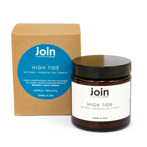 Are you after a refreshing and uplifting home fragrance? This careful blend of mandarin and lemon verbena will lift your soul when the beach is just too far. High Tide is a clean fragrance and packs a citrus zest punch like a walk on the beach on a blustery day. Available in 3 sizes. This shows the 120ml candle, with a burn time of 20-25 hours. If you're looking for gifts for women who appreciate the finer things in life, this refreshing blend is sure to satisfy their cravings. Each Join luxury candle is 100% natural, vegan, cruelty free and scented with essential oils. Handcrafted in London in small batches and gift wrapped in a lovely recycled kraft box shown here. You can see them all, along with room diffusers and room mists, on chalkandmoss.com.
