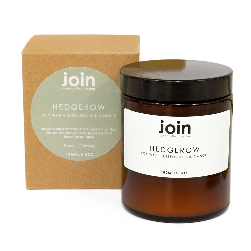 The Hedgerow aromatherapy candles give you that special feeling you get on a spa weekend. An indulgent blend of delicate neroli, rose and basil. This indulgent best seller is romantic and feminine. A floral fragrance that makes a lovely wedding gift, anniversary gift or a special gift for women any time of year. This is the large 180ml version with a burn time of 45+ hours. Made from vegan soy wax (paraffin free) and high quality essential oils, with a pure cotton wick. This ensures a smoke free flame and no nasties to inhale. Your candle comes in a lovely brown apothecary jar and a recycled box.