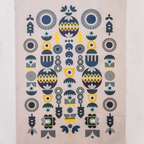 "Two designs inspired by Scandinavian and Eastern European folklore in a '70s style. These make beautiful and alternative Christmas tea towels. This is the ""Solstice"" design. Also available in a colourful ""Bright"" design. 70 x 50cm."