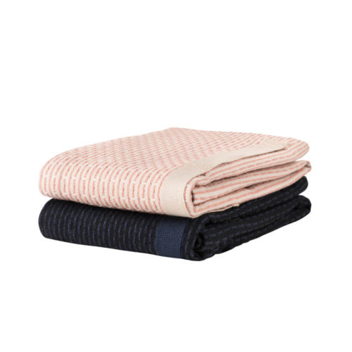 Little hand towel in pique weave organic cotton, shown here in pale rose and dark blue. Also available in grey.