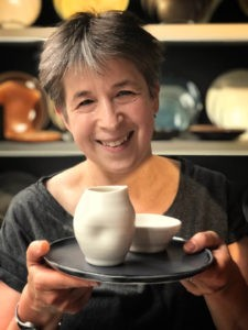 Linda Bloomfield - maker of handmade tactile porcelain tableware with colour on the inside. Available on chalkandmoss.com.