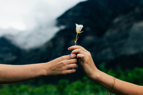 Women holding hands, with a white flower between them. In the background are mountains and low clouds. This image represents women and friendship. Photo by Evan Kirby on unsplash.com.