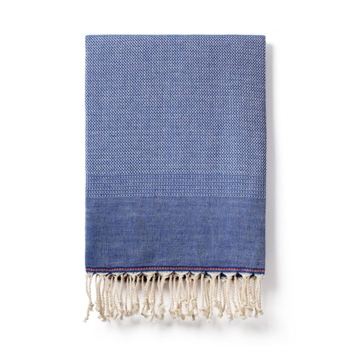 Denim coloured Ekin cotton peshtemal hammam towel.