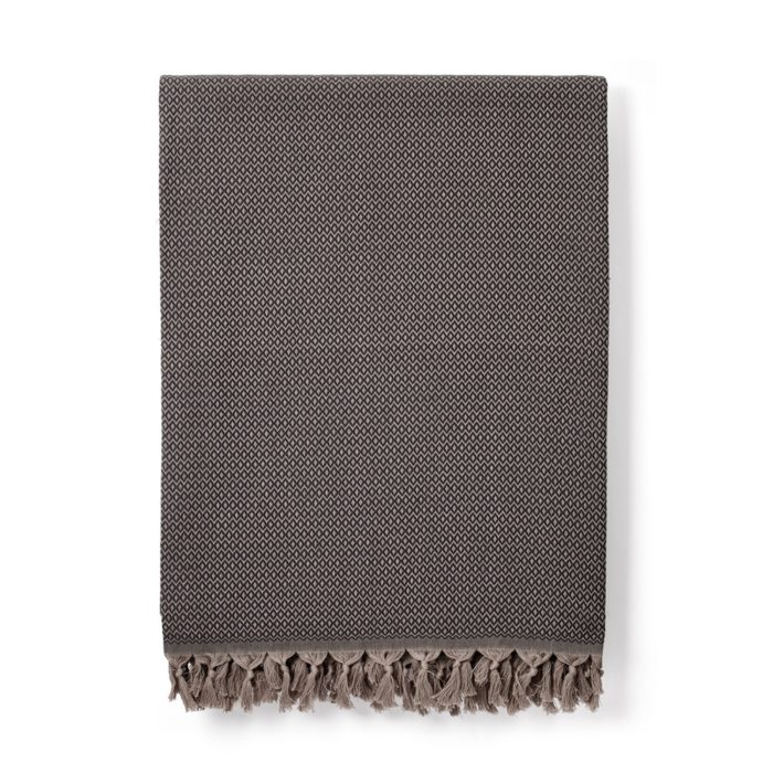 This is the dark grey (charcoal) variation of the Sila cotton blanket. Ethically made in Turkey.