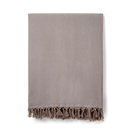 Sila cotton blanket in Smoke (light grey).
