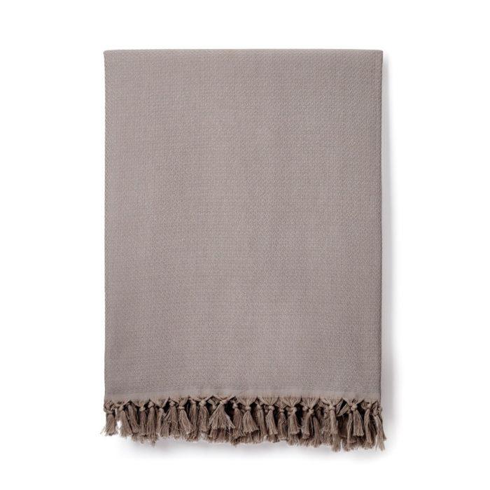 Sila cotton blanket in Smoke (light grey).