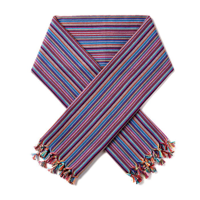 Short woven Turkish scarf or neckerchief in a choice of two bright colours. Stylish dressed up or down. Sustainably woven in Turkey by artisans. Seen here is the Mulberry blue tone.